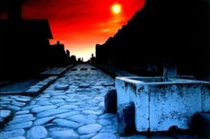 Pompeii. Sunset on the Abundance Street